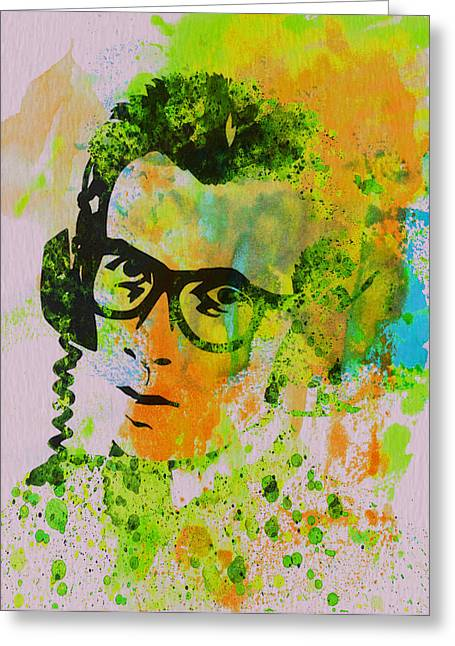 Costello Greeting Cards - Elvis Costello Greeting Card by Naxart Studio