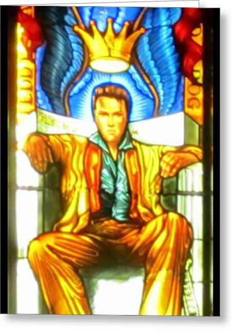 Famous Artist Glass Art Greeting Cards - Elvis Greeting Card by Crystal Loppie