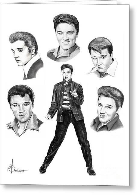 Rocks Drawings Greeting Cards - Elvis Elvis Elvis Greeting Card by Murphy Elliott