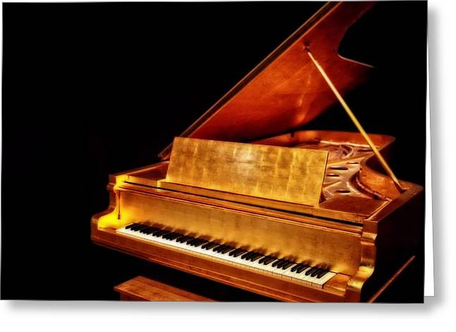 Nashville Tennessee Greeting Cards - Elvis Gold Piano Greeting Card by Dan Sproul