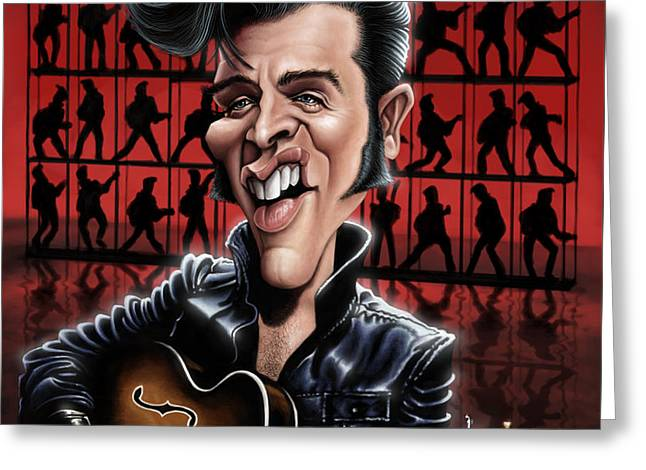 Elvis The King Greeting Cards - Elvis in Memphis Greeting Card by Andre Koekemoer