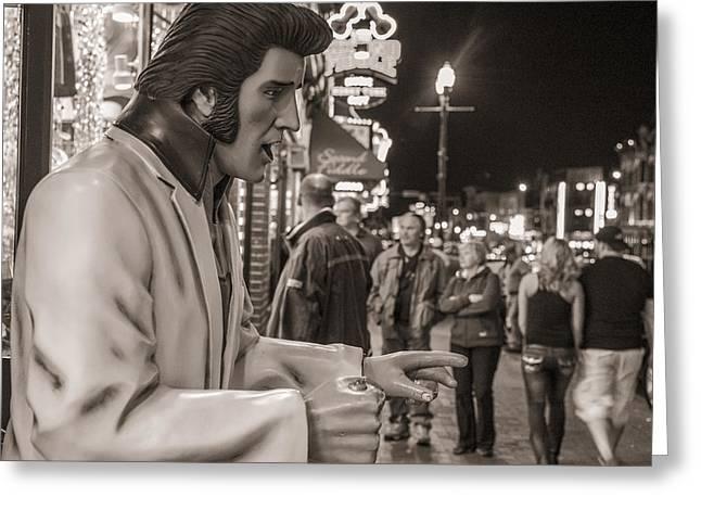 Music City Nashville Greeting Cards - Elvis in Music City Greeting Card by John McGraw