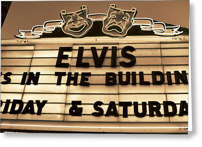 Old Neon Sign Greeting Cards - Elvis Is In Greeting Card by David Lee Thompson