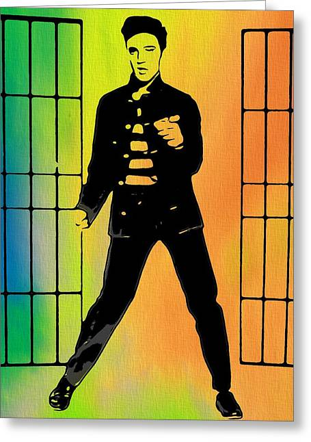 The King Of Pop Digital Art Greeting Cards - Elvis Jailhouse Rock  Greeting Card by Dan Sproul