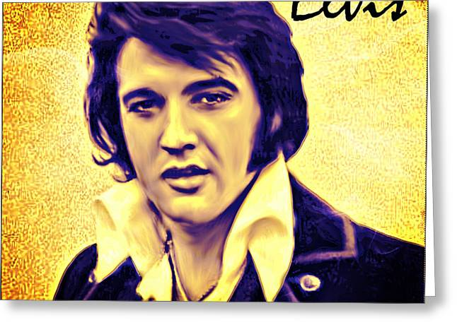 Pop Mixed Media Greeting Cards - Elvis King of Rock and Roll Greeting Card by Barbara Chichester