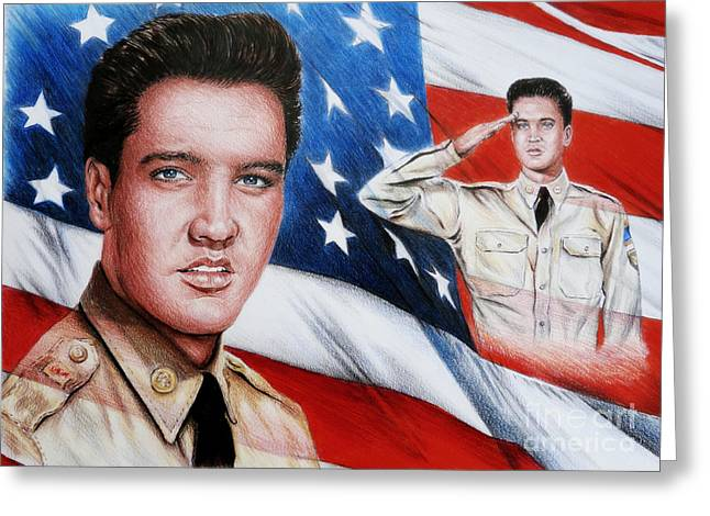 Famous Faces Drawings Greeting Cards - Elvis Patriot  Greeting Card by Andrew Read