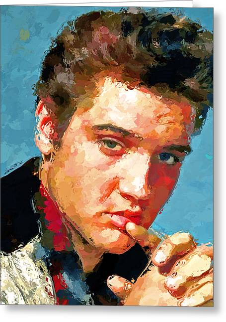 Enjoying Greeting Cards - Elvis Portrait 3 Greeting Card by Yury Malkov