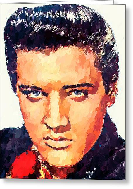 Live Art Greeting Cards - Elvis Portrait Greeting Card by Yury Malkov