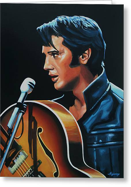 Rock And Roll Paintings Greeting Cards - Elvis Presley 3 Greeting Card by Paul  Meijering