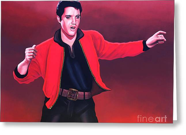 Rock And Roll Paintings Greeting Cards - Elvis Presley 4 Greeting Card by Paul  Meijering