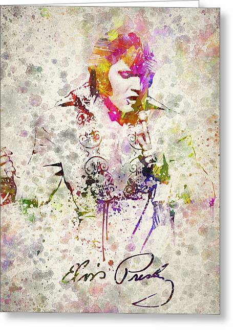Splatter Greeting Cards - Elvis Presley Greeting Card by Aged Pixel