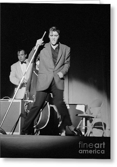 Male Singer Greeting Cards - Elvis Presley and Bill Black performing in 1956 Greeting Card by The Phillip Harrington Collection