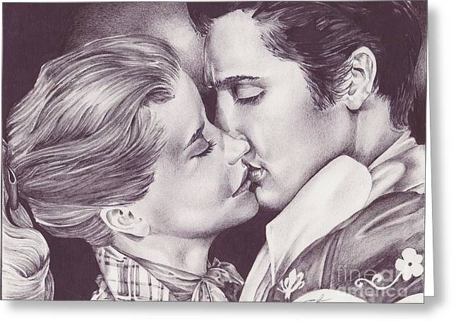 Harts Drawings Greeting Cards - Elvis Presley and Dolores Hart Greeting Card by J Windland