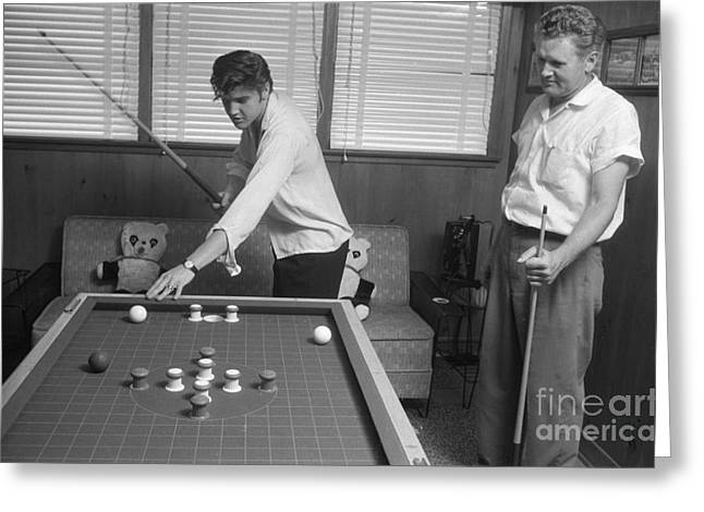 Elvis Presley And Vernon Playing Bumper Pool 1956 Greeting Card by The Phillip Harrington Collection