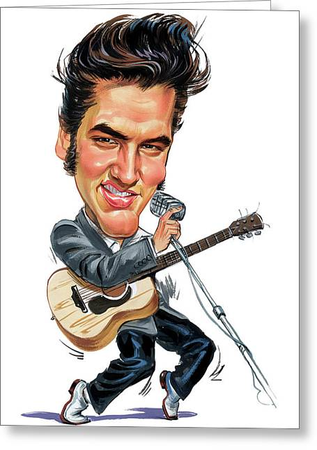 Caricatures Greeting Cards - Elvis Presley Greeting Card by Art