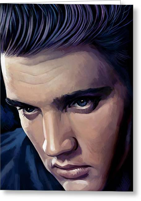Presley Greeting Cards - Elvis Presley Artwork 2 Greeting Card by Sheraz A