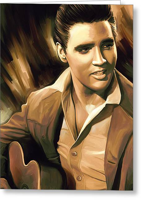 The King Of Pop Greeting Cards - Elvis Presley Artwork Greeting Card by Sheraz A