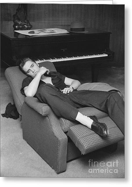 Elvis Presley At Home By His Piano 1956 Greeting Card by The Phillip Harrington Collection