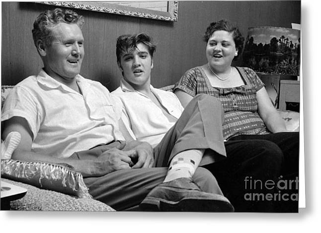 Memphis Tennessee Greeting Cards - Elvis Presley at home with Vernon and Gladys 1956 Greeting Card by The Phillip Harrington Collection