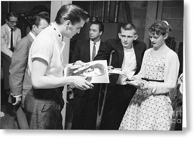 Autographed Greeting Cards - Elvis Presley Backstage Signing Autographs for Fans 1956 Greeting Card by The Phillip Harrington Collection