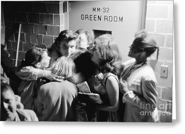 Many People Greeting Cards - Elvis Presley Hugging Fans 1956 Greeting Card by The Phillip Harrington Collection