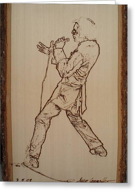 Icons Pyrography Greeting Cards - Elvis Presley - If I Can Dream Greeting Card by Sean Connolly