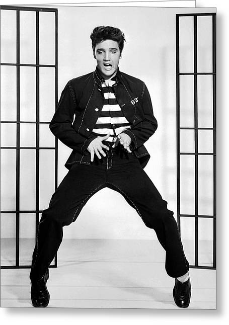Flick Photographs Greeting Cards - Elvis Presley in Jailhouse Rock 1957 Greeting Card by Mountain Dreams