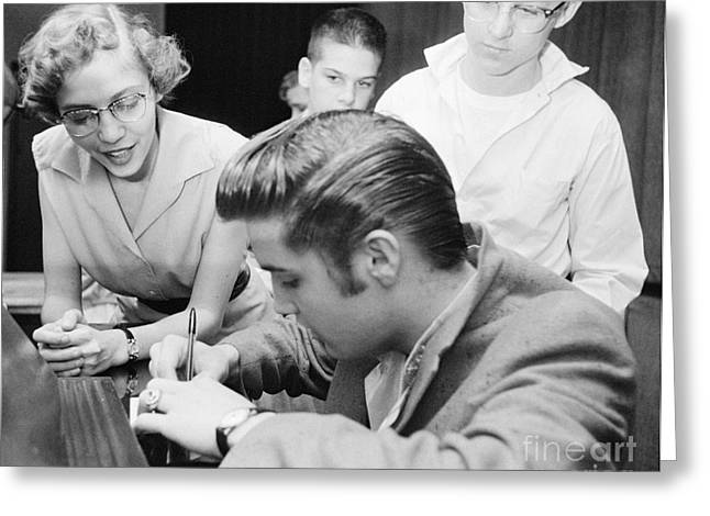 Autographed Greeting Cards - Elvis Presley Meeting Fans 1956 Greeting Card by The Phillip Harrington Collection
