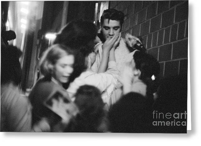 Many People Greeting Cards - Elvis Presley Mobbed by Fans 1956 Greeting Card by The Phillip Harrington Collection