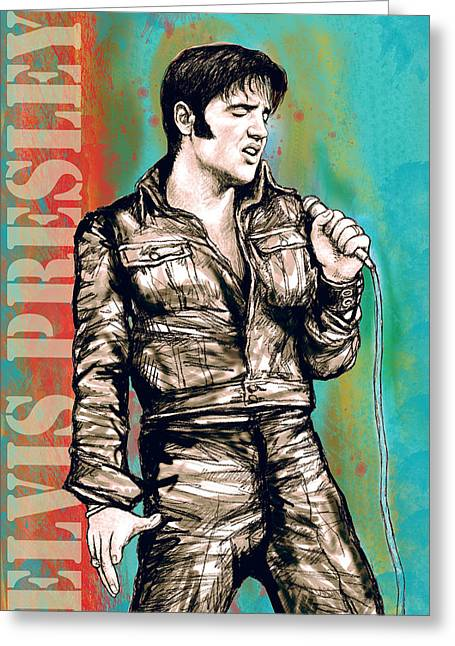 Most Greeting Cards - Elvis Presley - Modern art drawing poster Greeting Card by Kim Wang