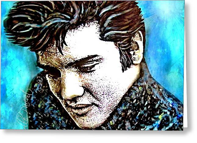 Guitare Greeting Cards - Elvis Presley Never Left The Building Alcohol Inks Greeting Card by Danielle  Parent