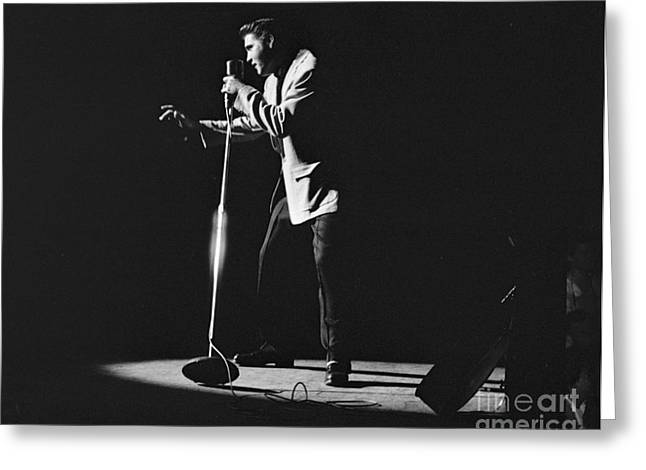 Male Singer Greeting Cards - Elvis Presley on stage in Detroit 1956 Greeting Card by The Phillip Harrington Collection