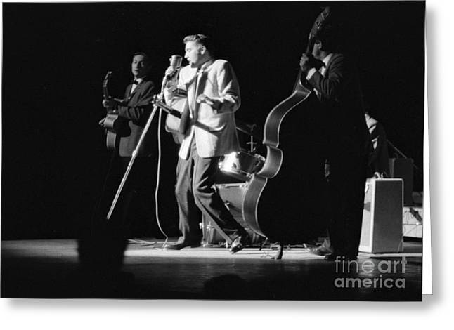 Elvis Presley On Stage With Scotty Moore And Bill Black 1956 Greeting Card by The Phillip Harrington Collection