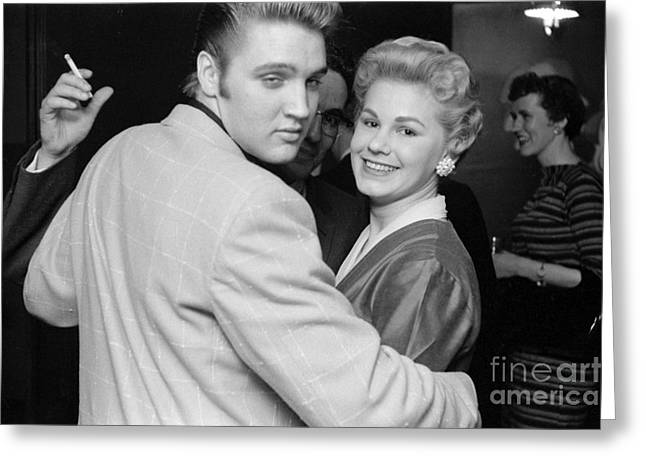 Many People Greeting Cards - Elvis Presley Parties with Fans 1956 Greeting Card by The Phillip Harrington Collection