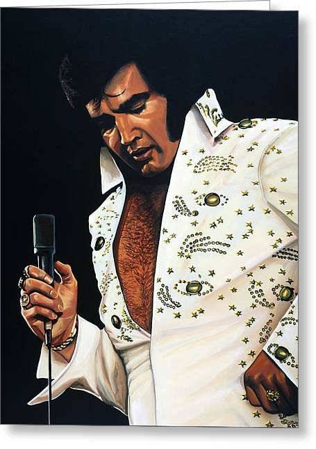 Rock And Roll Paintings Greeting Cards - Elvis Presley Greeting Card by Paul  Meijering