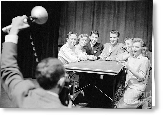 Many People Greeting Cards - Elvis Presley Photographed with Fans 1956 Greeting Card by The Phillip Harrington Collection