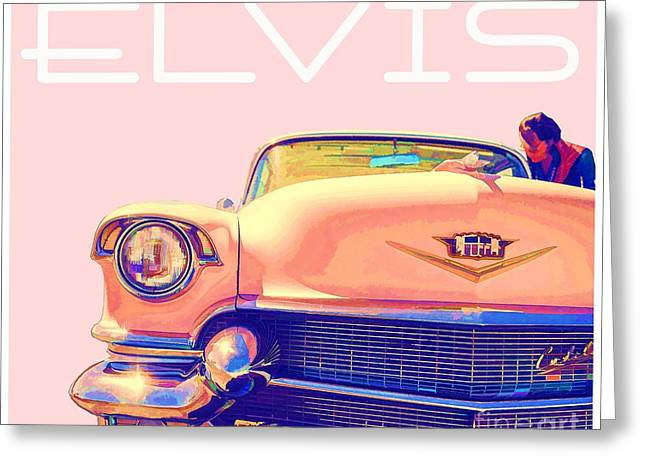 Famous Cities Greeting Cards - Elvis Presley Pink Cadillac Greeting Card by Edward Fielding