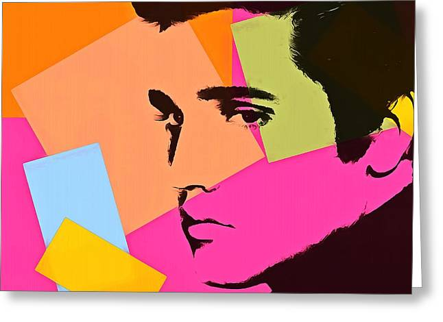 Green And Yellow Mixed Media Greeting Cards - Elvis Presley Pop Art Greeting Card by Dan Sproul
