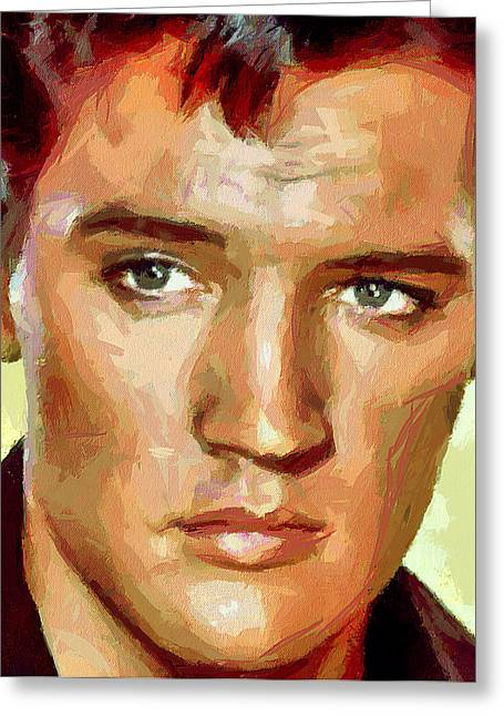 Enjoying Greeting Cards - Elvis Presley Portrait Greeting Card by Yury Malkov