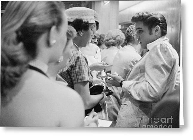Autographed Greeting Cards - Elvis Presley signing autographs at the Fox Theater 1956 Greeting Card by The Phillip Harrington Collection