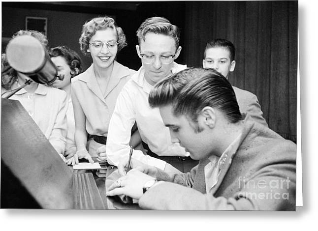 Autographed Greeting Cards - Elvis Presley Signing Autographs for Fans 1956 Greeting Card by The Phillip Harrington Collection