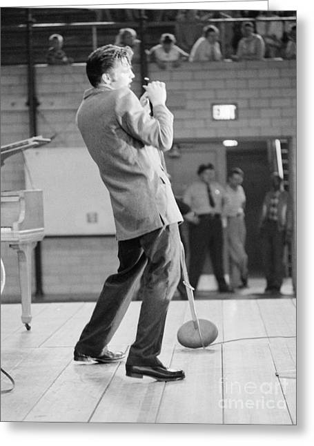 Many People Greeting Cards - Elvis Presley Singing in Dayton in 1956 Greeting Card by The Phillip Harrington Collection