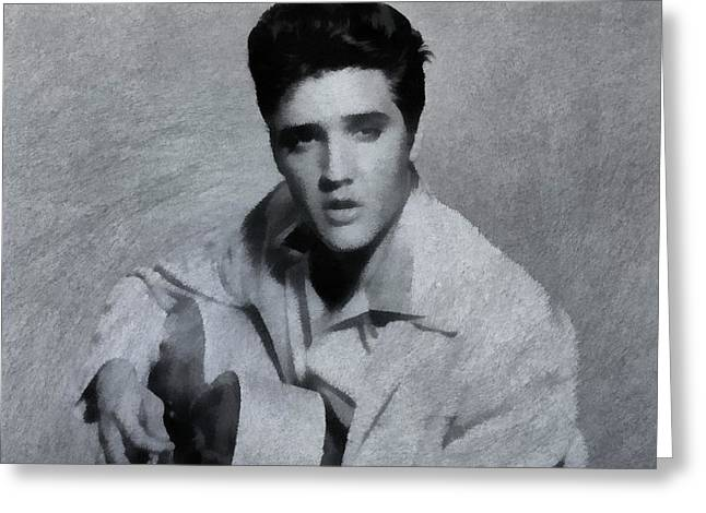 Sun Studio Greeting Cards - Elvis Presley The King Greeting Card by Dan Sproul