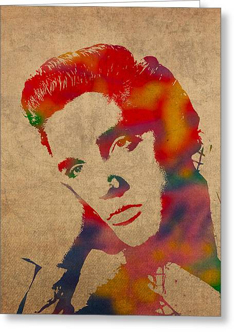 Presley Greeting Cards - Elvis Presley Watercolor Portrait on Worn Distressed Canvas Greeting Card by Design Turnpike