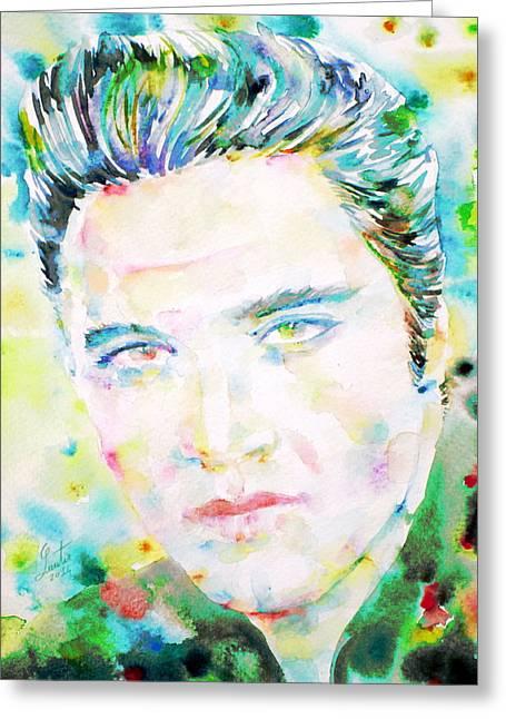 Elvis Presley Drawing Greeting Cards - Elvis Presley Watercolor Portrait.2 Greeting Card by Fabrizio Cassetta