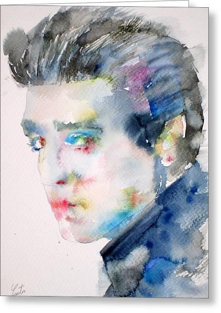 Elvis Presley Drawing Greeting Cards - Elvis Presley Watercolor Portrait.3 Greeting Card by Fabrizio Cassetta