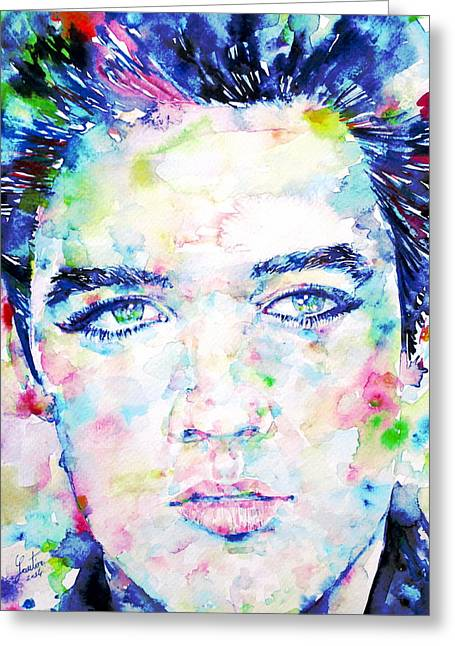 Elvis Presley Drawing Greeting Cards - Elvis Presley Watercolor Portrait.4 Greeting Card by Fabrizio Cassetta