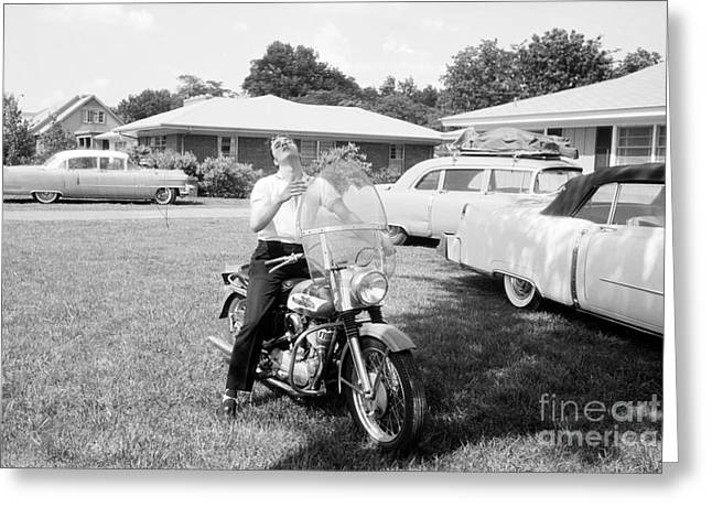 Memphis Tennessee Greeting Cards - Elvis Presley with his 1956 Harley KH Greeting Card by The Phillip Harrington Collection