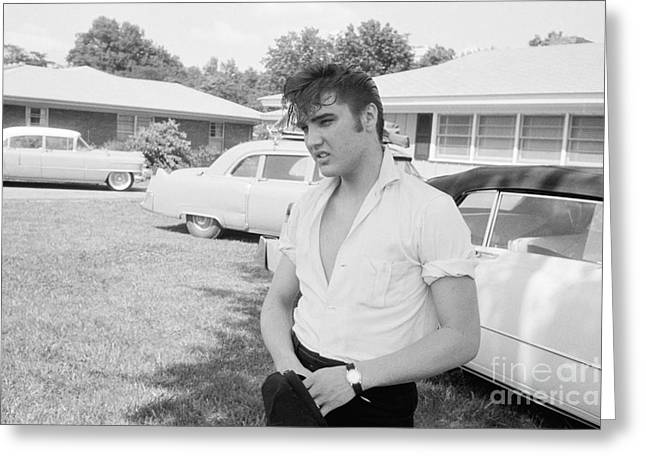 Elvis Presley With His Cadillacs Greeting Card by The Phillip Harrington Collection