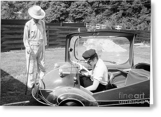 Memphis Tennessee Greeting Cards - Elvis Presley with his Messerschmitt Micro Car 1956 Greeting Card by The Phillip Harrington Collection